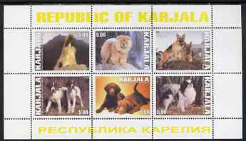 Karjala Republic 1999 Dogs #4 perf sheetlet containing set of 6 values unmounted mint (White border with yellow text)