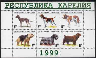 Karjala Republic 1999 Dogs #5 perf sheetlet containing set of 6 values unmounted mint (White border with green text)