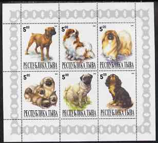 Touva 1999 Dogs #2 perf sheetlet containing set of 6 values unmounted mint (white background grey pattened border)
