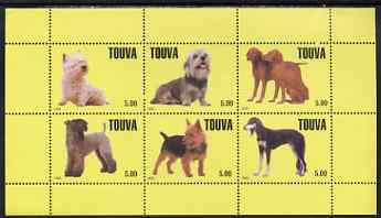 Touva 1999 Dogs #3 perf sheetlet containing set of 6 values unmounted mint (yellow background)