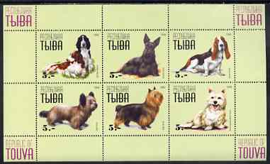 Touva 1999 Dogs #4 perf sheetlet containing set of 6 values unmounted mint (yellow-green background)
