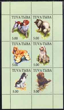 Touva 1999 Dogs #5 perf sheetlet containing set of 6 values unmounted mint (pale green background)