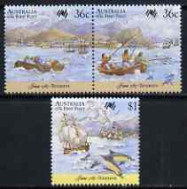 Australia 1987 Bicentenary of Australian Settlement (7th series) First fleet at Tenerife set of 3 unmounted mint, SG 1064-66, stamps on ships, stamps on explorers, stamps on dolphins