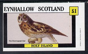 Eynhallow 1982 Short Eared Owl imperf souvenir sheet (�1 value) unmounted mint
