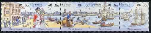 Australia 1987 Bicentenary of Australian Settlement (6th series) Departure of First Fleet se-tenant strip of 5 unmounted mint SG 1059a