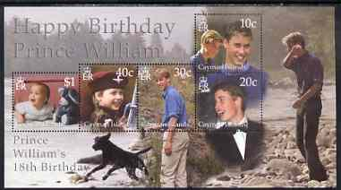 Cayman Islands 2002 Prince William's 18th Birthday m/sheet unmounted mint