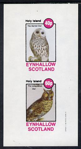 Eynhallow 1982 Owls (Barred Owl & Lonf-Eared Owl) imperf set of 2 values (40p & 60p) unmounted mint