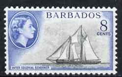 Barbados 1953-61 Schooner 8c (wmk Script CA) unmounted mint SG 295