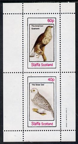 Staffa 1982 Birds #32 (Snow Owl & Goshawk) perf set of 2 values (40p & 60p) unmounted mint