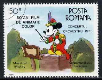 Rumania 1986 Mickey Mouse Conducting 50b fine used, SG 5023