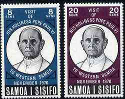 Samoa 1970 Visit of Pope Paul set of 2 unmounted mint, SG 358-59