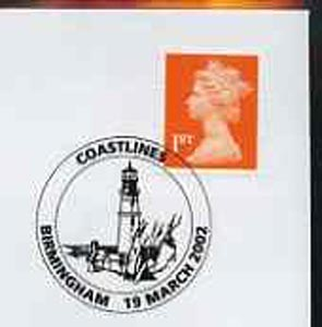 Postmark - Great Britain 2002 cover with Birmingham Coastlines cancel illustrated with Lighthouse
