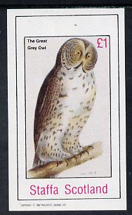 Staffa 1982 Birds #32 (Great Grey Owl) imperf souvenir sheet (�1 value) unmounted mint