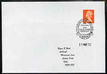 Postmark - Great Britain 2002 cover with 20th Anniversary Falkland Islands Conflict Memorial cancel