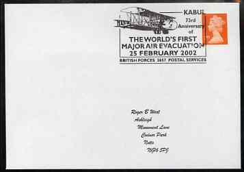 Postmark - Great Britain 2002 cover with Kabul 73rd Anniversary of first Air Evacuation cancel illustrated with Biplane, stamps on militaria, stamps on aviation
