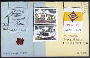Aland Islands 1993 Postal Autonomy m/sheet unmounted mint, SG MS 65
