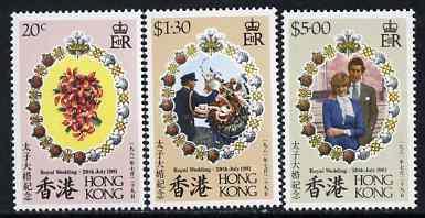 Hong Kong 1981 Royal Wedding set of 3 unmounted mint, SG 399-401