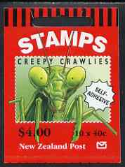 Booklet - New Zealand 1997 Insects $4.00 booklet complete & pristine containing pane of self-adhesive stamps, SG SB88