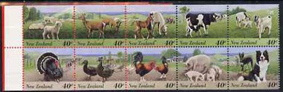 Booklet - New Zealand 1995 Farmyard Animals $4.00 booklet complete & pristine containing pane of 10 stamps, SG SB75