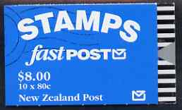 Booklet - New Zealand 1993 Falcon $8.00 booklet complete & pristine containing pane of 10 stamps, SG SB63
