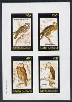 Staffa 1982 Birds #34 (Night Owl, Osprey etc) imperf set of 4 values (10p to 75p) unmounted mint