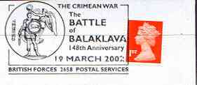 Postmark - Great Britain 2002 cover with British Forces commem cancel for 148th Anniversary of the Battle of Balaklava (Crimean War)