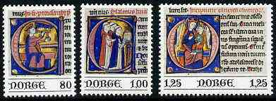 Norway 1977 Miniatures from the Aslak Bolt Bible set of 3 unmounted mint, SG 808-10