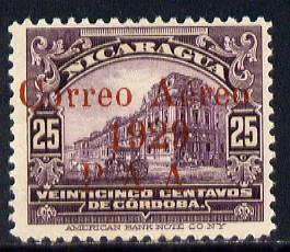 Nicaragua 1929 Overprinted PAA on 25c violet unmounted mint SG616