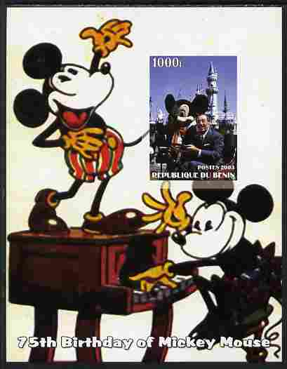 Benin 2003 75th Birthday of Mickey Mouse #10 imperf s/sheet also showing Walt Disney, unmounted mint. Note this item is privately produced and is offered purely on its thematic appeal