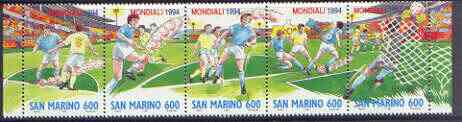 San Marino 1994 Football World Cup Championships strip of 5 unmounted mint, SG 1480-84