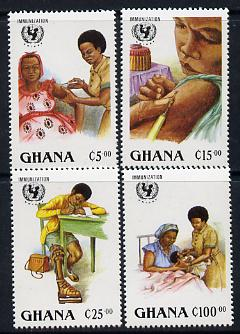 Ghana 1988 UNICEF set of 4 unmounted mint, SG 1234-7, stamps on unicef, stamps on united nations, stamps on children, stamps on medical, stamps on disabled, stamps on nurses