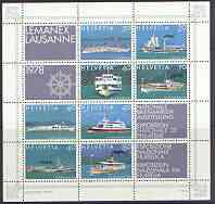 Switzerland 1978 Lemanex 78 Stamp Exhibition sheetlet containing 8 stamps (Lake Steamers plus 4 labels) unmounted mint, SG MS 952