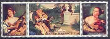 San Marino 1970 Death Bicentenary of Tiepolo (painter) se-tenant strip of 3 unmounted mint, SG 894-96