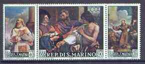 San Marino 1967 Paintings by Barbieri se-tenant strip of 3 unmounted mint, SG 822-24