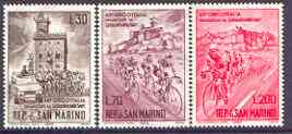 San Marino 1965 Cycle Tour of Italy set of 3 unmounted mint, SG 770-71