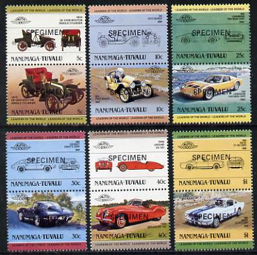 Tuvalu - Nanumaga 1984 Cars #1 (Leaders of the World) set of 12 opt