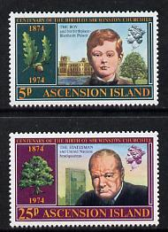 Ascension 1974 Churchill Birth Centenary set of 2 (SG 182-83) unmounted mint