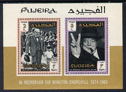 Fujeira 1966 Churchill Commemoration perf m/sheet containing 2 values unmounted mint, SG MS75