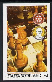 Staffa 1980 Chess Pieces (75th Anniversary of Rotary International) imperf souvenir sheet (�1 value) unmounted mint