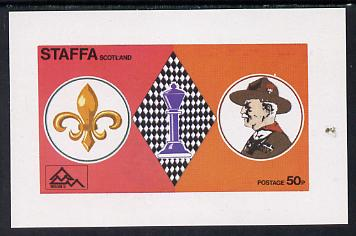 Staffa 1978 Scouts & Chess imperf souvenir sheet (50p value) unmounted mint