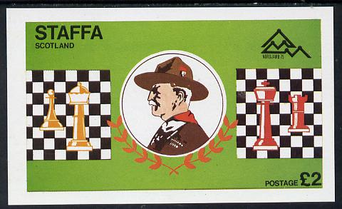 Staffa 1978 Scouts & Chess imperf deluxe sheet (�2 value) unmounted mint, stamps on chess    scouts