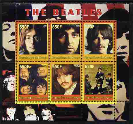 Congo 2007 The Beatles perf sheetlet #2 containing 6 values unmounted mint. Note this item is privately produced and is offered purely on its thematic appeal