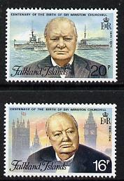 Falkland Islands 1974 Birth Centenary of Sir Winston Churchill set of 2 unmounted mint, SG 304-5