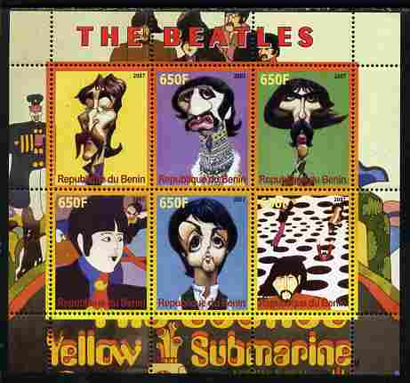 Benin 2007 The Beatles - Yellow Submarine perf sheetlet containing 6 values unmounted mint. Note this item is privately produced and is offered purely on its thematic appeal
