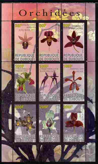 Djibouti 2010 Orchids perf sheetlet containing 9 values unmounted mint