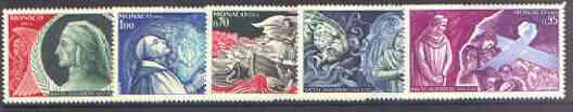 Monaco 1966 700th Anniversary of Dante's Death set of 5 unmounted mint, SG 839-43