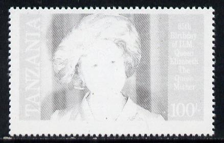 Tanzania 1985 Life & Times of HM Queen Mother 100s (SG 428) unmounted mint perforated colour proof single in black only*