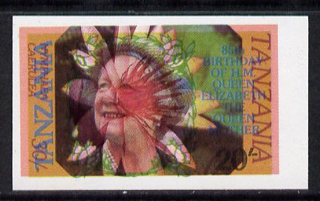 Tanzania 1985 Life & Times of HM Queen Mother 20s (SG 425) IMPERF printed over 1986 Flowers 30s  (SG 477) most unusual unmounted mint
