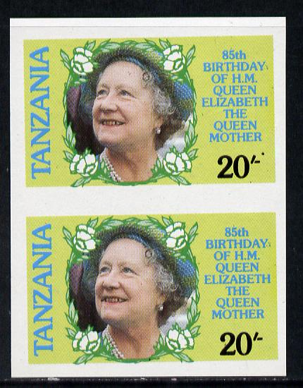 Tanzania 1985 Life & Times of HM Queen Mother 20s (SG 425) unmounted mint imperf pair*