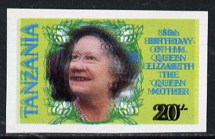 Tanzania 1985 Life & Times of HM Queen Mother 20s (SG 425) unmounted mint imperf single with entire design doubled*